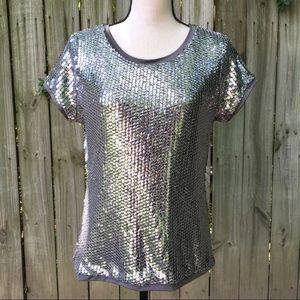 August Silk · Silver Sequin Short Sleeve Top Sz L